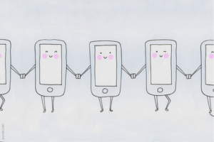 phones holding hands