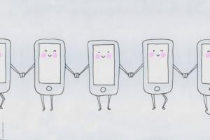 phones holding hands