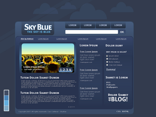 Blue used in a website suggests the sky or ocean
