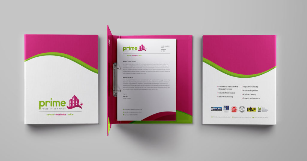 Prime folders - bright colours, graphic design, printing