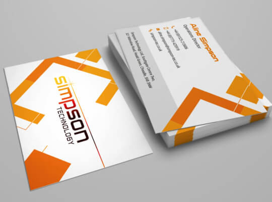 Business card design for Simpson Tec