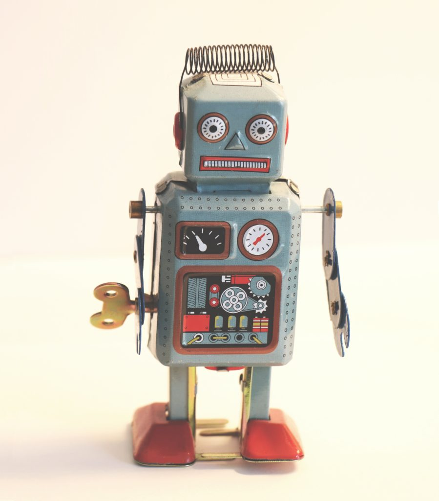 Wind-up toy robot.