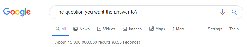 Image of a Google search query