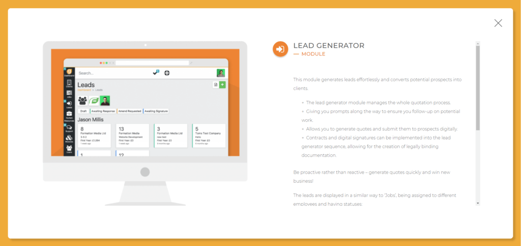 Lead generator module from our business management software: glowt