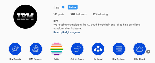 Instagram's IBM page - a form of internet marketing strategy
