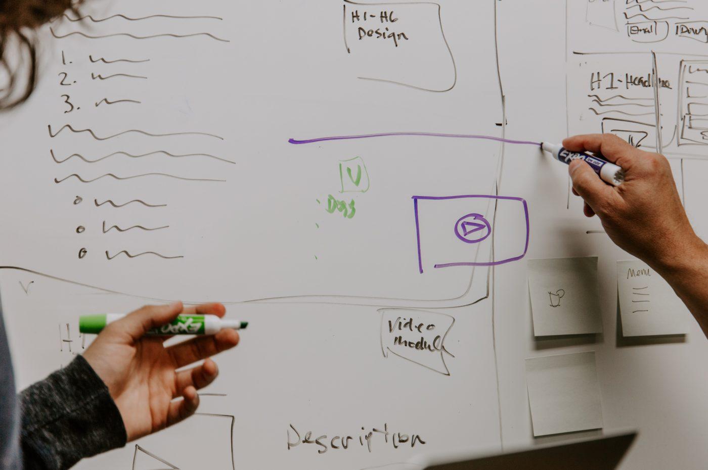 Whiteboard with a digital marketing strategy written on it